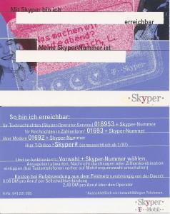 Skyper Werbelarte (Vorder- und Rückseite)